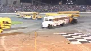 getlinkyoutube.com-School Bus Figure 8 Race 5/24/14 Sportsdrome Speedway
