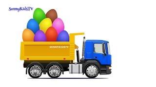 getlinkyoutube.com-Trucks for kids. Dump Truck. Surprise Eggs. Learn Fruits. Video for children.