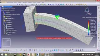 getlinkyoutube.com-analyse de RDM sur une poutre encastrée sur catia flexion