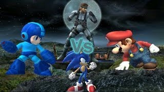 getlinkyoutube.com-SSBB Dolphin Emulated: Mario Vs Sonic Vs MegaMan Vs Snake