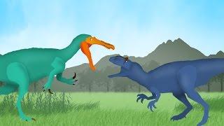 getlinkyoutube.com-Dinosaurs Cartoons Battles: Allosaurus vs Suchomimus. Динозавры Мультфильм