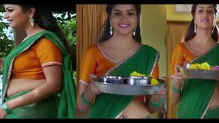 Nandhini serial actress Nithya Ram saree hot show