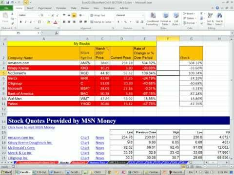 Excel 2010 Business Math 35: Stock Value Percentage Change &amp; Web Query For Current Stock Values