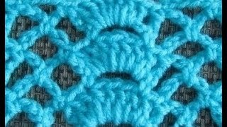 getlinkyoutube.com-How to Crochet The Fan Trellis Stitch