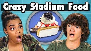 TEENS EAT CRAZY STADIUM FOOD! | Teens Vs. Food width=