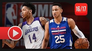 getlinkyoutube.com-Brandon Ingram vs Ben Simmons SL Duel Highlights (2016.07.09) Lakers vs 76ers - TOP PICKS!