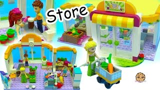 getlinkyoutube.com-Surprise Blind Bags + Queen Elsa Shops at Lego Friends Supermarket Store For Food