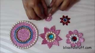 getlinkyoutube.com-DIY - Floating kundan diya rangoli and floating kundan flowers, How to make floating rangoli