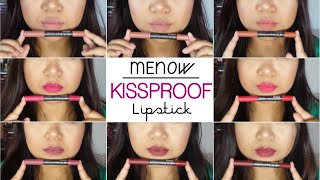 getlinkyoutube.com-Menow Powdery Matte Kissproof Lipstick Swatches - Morena/Tan Skintone | Patty Patricio