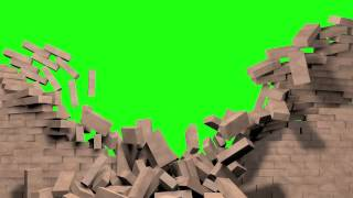 getlinkyoutube.com-Green Screen exploding wall version 3, free footage for use in video editing software.