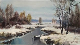 getlinkyoutube.com-Урок масляной живописи. Пишем начало зимы. Лесной мотив с речкой.