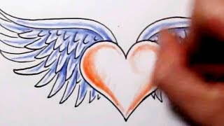 getlinkyoutube.com-How to Draw a Heart With Wings - Tattoo Design Sketch