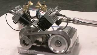 getlinkyoutube.com-Early Run of My V-Twin model Engine by Terry Mayhugh