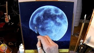 getlinkyoutube.com-How To Paint A Full Moon - Acrylic Painting Lesson In Real Time