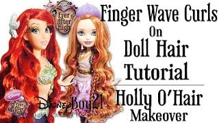 getlinkyoutube.com-How to Curl Doll Hair Tutorial: Finger Wave Curls / Mermaid - Holly O'Hair Makeover Ever After High