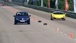 getlinkyoutube.com-VW Golf R vs BMW M6 vs Lamborghini Gallardo LP560 vs Mercedes CLS 63 AMG