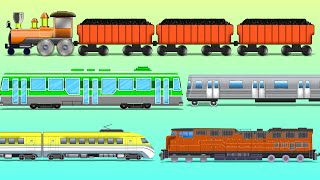 getlinkyoutube.com-Trains | Railway Vehicles | Street Vehicles | learn transports | baby videos
