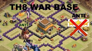 getlinkyoutube.com-Clash of Clans- NEW TH8 Clan War base. Anti-everything(anti-air ,hog, gowipe) anti 3-stars.&Replays