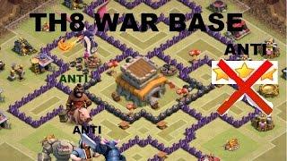 getlinkyoutube.com-Clash of Clans- NEW TH8 Clan War base. Anti-everything(anti-air ,hog, gowipe) anti 3-stars.&Replays