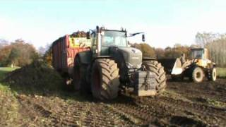 getlinkyoutube.com-Volvo L120E Filling Beets on Fendt 936 with Pöttinger Jumbo 7200