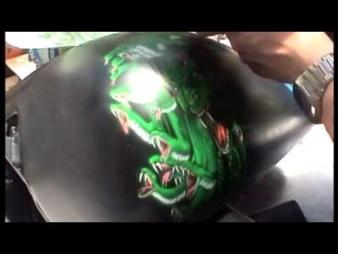 Airbrushed Screaming Medusa Harley Tank, Step by Step Part : 3