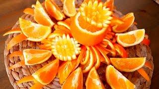 getlinkyoutube.com-Art In Orange Flower Platter | Fruit Carving Garnish | Food Decoration | Party Garnish by ItalyPaul