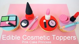 getlinkyoutube.com-Edible Makeup Cake Toppers - How to Make Cosmetics Cake Toppers by Pink Cake Princess