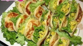 وصفات هندوشة : بطبوط معمر بحشوة لذيذة جدا سهل و إقتصادي |  Batbout farci au poulet-recette marocaine