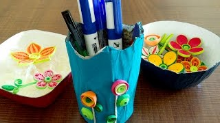 getlinkyoutube.com-How To Make Bowls & Pen Stand | DIY Newspaper Craft Tutorial