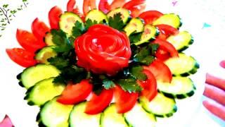 getlinkyoutube.com-Украшения из огурца и помидора! Decoration of tomato and cucumber!