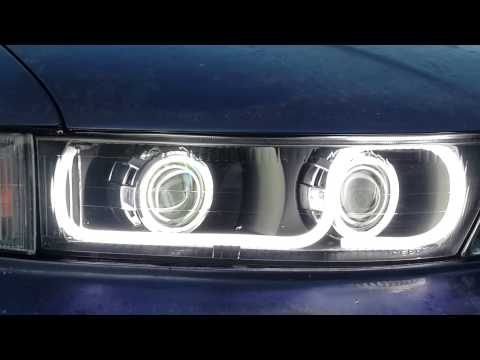 Mitsubishi Galant VIII Фары от works garage линзы sho-me 330 ангельские глазки и полоса