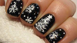 getlinkyoutube.com-Snowflakes and chrismastree nails - Śnieżynki i choinka na paznokciach - Semilac 096, 001