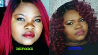 getlinkyoutube.com-How To Curl Synthetic Wigs: WIG TRANSFORMATION