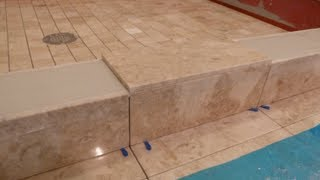 "getlinkyoutube.com-Part ""5"" How to tile shower curb & measure all cuts to shower floor & main bathroom floor  DIY"