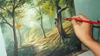 getlinkyoutube.com-Acrylic Landscape Painting Lesson - Forest Trees by JMLisondra