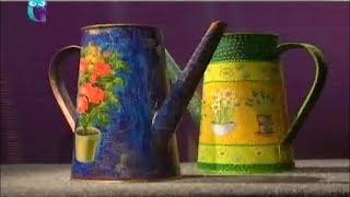 getlinkyoutube.com-Декупаж. Декорируем садовые лейки, используя трехслойные бумажные салфетки. Мастер класс