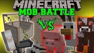 getlinkyoutube.com-MECHA GOLEM VS MUTANT COW, MUTANT SHEEP, MUTANT PIG, & MUTANT CHICKEN - Minecraft Mob Battles - Mods