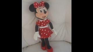 getlinkyoutube.com-1° Parte Minnie Mouse de vermelho Topo do Bolo ( cake topper ) Biscuit / Porcelana Fria