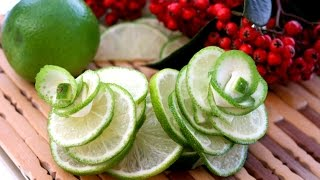 getlinkyoutube.com-Art In Lime Rose Flower | Fruit Carving Garnish | Food Decoration | Party Garnishing by ItalyPaul