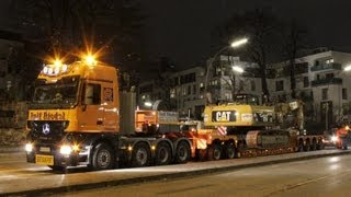 getlinkyoutube.com-CAT 336D BAGGER SCHWERTRANSPORT ++ DEM50 LONGFRONT EHLERT ACTROS RIEDEL