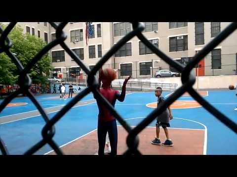 Spiderman filming in chinatown manhattan. Took a break to play basketball with loca kids. 5-18-13