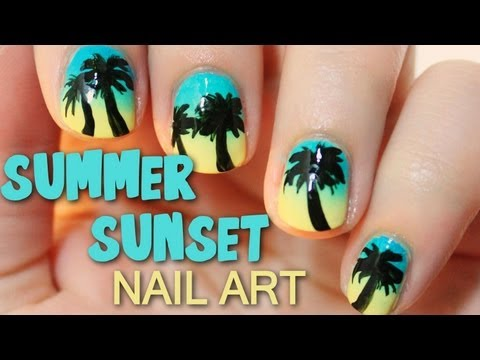 Summer Sunset Nail Art | TotallyCoolNails