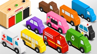 getlinkyoutube.com-Colors for Children to Learn with Wooden Street Vehicles Toys - Colors and Shapes Video Collection