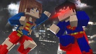 getlinkyoutube.com-Minecraft: SUPERGIRL VS SUPERMAN - Super Heroes PvP ‹ Ine ›