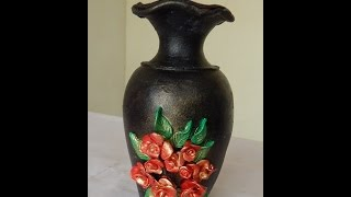 getlinkyoutube.com-Pot painting using blow technique - Pot painting how to make rose & leaf embossings part -2