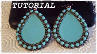"""getlinkyoutube.com-Tutorial Embroidery: Orecchini """"Gipsy"""" come lavorare e rifinire un cabochon #2 (Embroidery Earrings)"""