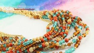 getlinkyoutube.com-Cómo hacer un Collar varias vueltas multicolor (English CC)