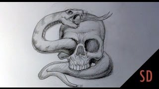 getlinkyoutube.com-How to Draw Skull and Snake Tattoo - Skull Drawings