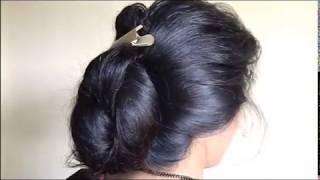 getlinkyoutube.com-ILHW Rapunzel Sanika Huge Bun Making with her below butt length thick hair...