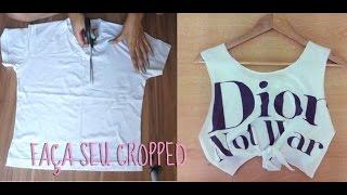 getlinkyoutube.com-DIY: Como fazer um cropped top / camisa cavada em casa fácil e barato